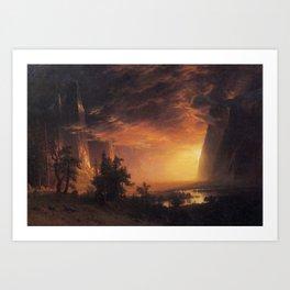 Albert Bierstadt - Sunset in the Yosemite Valley Art Print