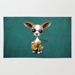 Chihuahua Puppy Dog Playing Old Acoustic Guitar Teal Rug