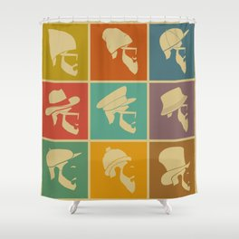colorful Icons man in a headdress hat Shower Curtain