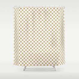 Large Christmas Gold Polka dots on White Shower Curtain