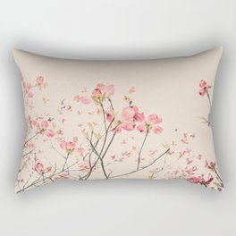 Vintage Spring Botanical, Peaches and Cream -- Pink Dogwood Flowers on Ivory Ground Rectangular Pillow