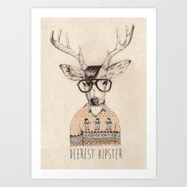 Deerest hipster Art Print
