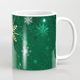 Gold Snowflakes on a Green Background Coffee Mug