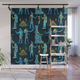 Egyptian  Gold and blue glass pattern Wall Mural