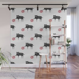 Cat and ball of yarn Wall Mural