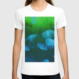 Moon Jellyfish - Blue and Green T-shirt