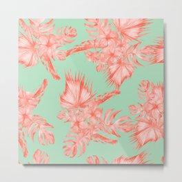 Dreaming of Hawaii Coral Pink + Pastel Green Metal Print