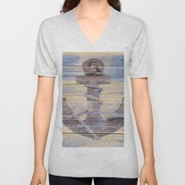 Rusty Anchor Grey Blue Beach Lake House Coastal Home Decor A177 Unisex V-Neck