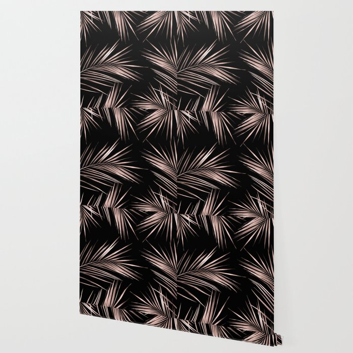 Rosegold Palm Tree Leaves on Midnight Black Wallpaper