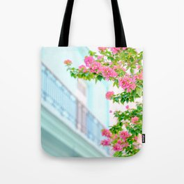Colonial Havana Architecture with Pink Bougainvillea Tote Bag