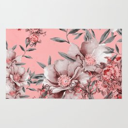 Peach Red and Gray Floral Rug