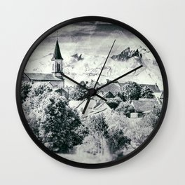 Old French village in countryside Mont Blanc mountains vintage styled Wall Clock