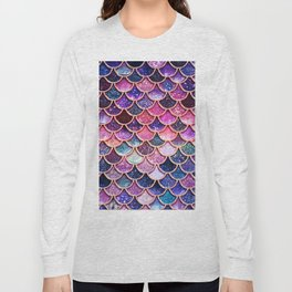 Pink & Purple Trendy Glitter Mermaid Scales Long Sleeve T-shirt