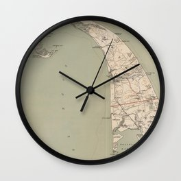 Vintage Map of Lower Cape Cod (1891) Wall Clock