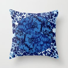 blue floral circle on blue floral Throw Pillow
