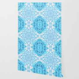 Symmetrical Pattern in Blue and Turquoise Wallpaper