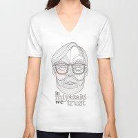 hayao miyazaki V-neck T-shirts featuring Hayao Miyazaki portrait by Felip Ariza Montobbio