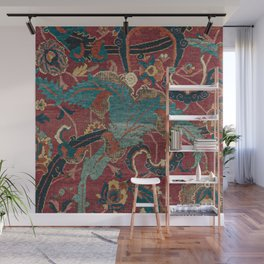 Flowery Arabic Rug I // 17th Century Colorful Plum Red Light Teal Sapphire Navy Blue Ornate Pattern Wall Mural