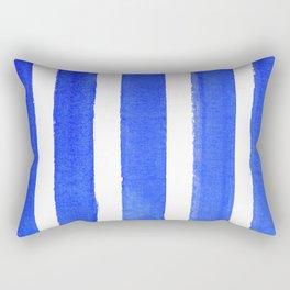 Watercolor Blue Stripes Rectangular Pillow
