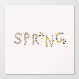 SPRING - Flower Typography Canvas Print