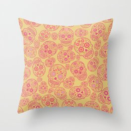 Skull pattern coral Throw Pillow