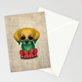 Cute Puppy Dog with flag of Lithuania Stationery Cards