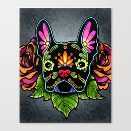 French Bulldog in Black - Day of the Dead Bulldog Sugar Skull Dog Canvas Print
