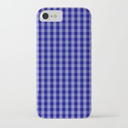 Navy Blue Gingham Check Plaid Pattern iPhone Case