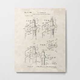 Urinary Drainage System Vintage Patent Hand Drawing Metal Print
