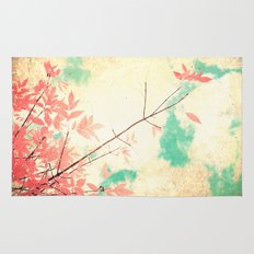 Textured Fall (Vintge Fall pink - orange leafs on textured clouds and blue sky) Rug