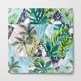 Tropical leaves and palm trees in geometric shapes seamless pattern. Metal Print