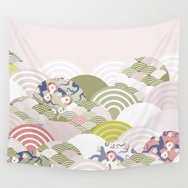 scales simple Nature background with japanese sakura flower, rosy pink Cherry, wave circle pattern Wall Tapestry