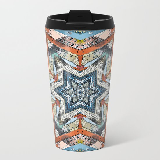 Abstract Geometric Structures Metal Travel Mug