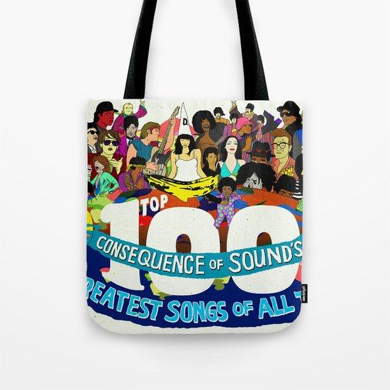 """""""Top 100 Greatest Songs of All Time"""" by Steven Fiche Tote Bag"""