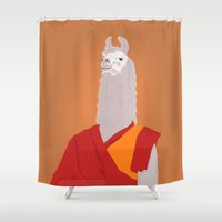 lama Shower Curtains featuring Buddhist lama by bartovan