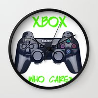 xbox Wall Clocks featuring Ps vs xbox by BAS~