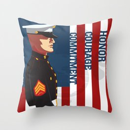 Honor, Courage & Commitment Throw Pillow