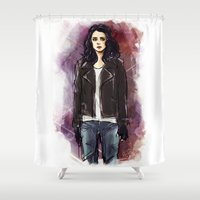 phil jones Shower Curtains featuring jessica jones by roanne Q