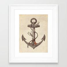 Lost at Sea - mono Framed Art Print