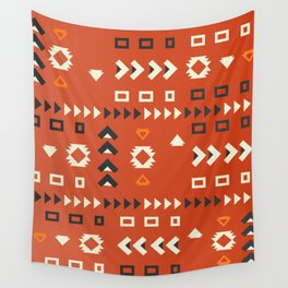 American native shapes in red Wall Tapestry