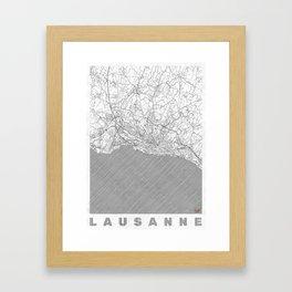 Lausanne Map Line Framed Art Print