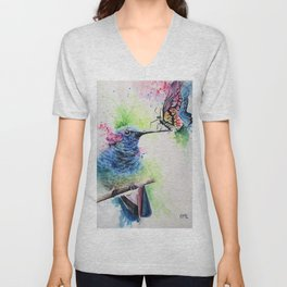 Hummingbird and Butterfly Unisex V-Neck