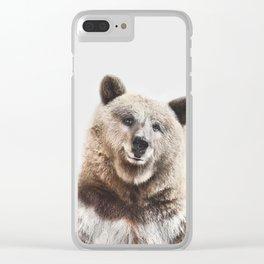 Brown Bear Print Clear iPhone Case