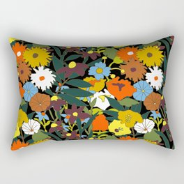 60's Swamp Floral in Midnight Black Rectangular Pillow