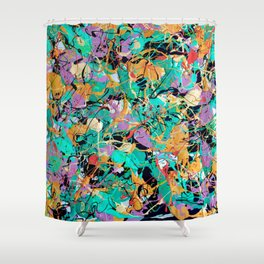 Green Eyes - abstract art - abstract impressionism - latex - house paint  Shower Curtain