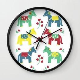 Scandinavian Horses Print Wall Clock