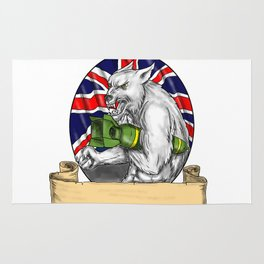 White Wolf Holding Bomb British Flag Tattoo Rug