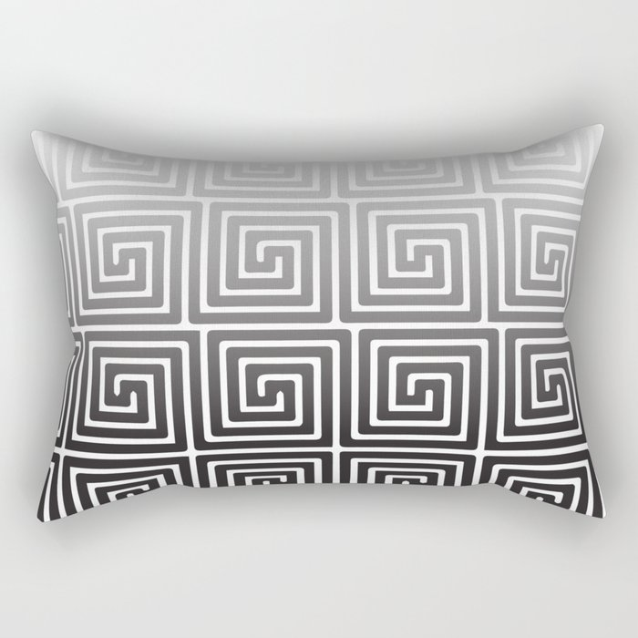 Black And White Square Spiral Rectangular Pillow