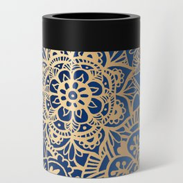 Blue and Gold Mandala Pattern Can Cooler