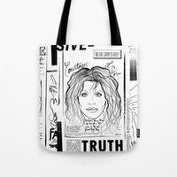 scandal Tote Bags featuring Courtney Scandal by CLSNYC